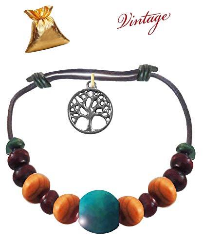 "Armband\""Blu\"" Vintage Armreif Leder holz Baum des Lebens in indischem Silber Herren Damen fashion trend Bracelet Geschenkpaket"
