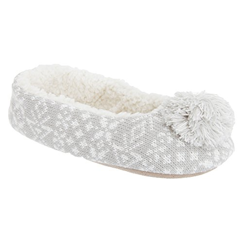 Pantofole tipo ballerina design Fairisle - Donna Grigio
