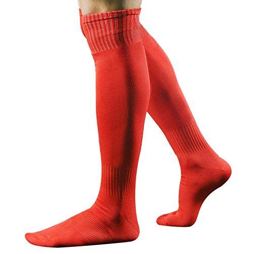 ESAILQ Herren Männer Sport Fußball lange Socken über Knie hoch Socke Baseball Hockey (Rot)