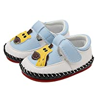 AIDEAR Baby Crib Moccasins Soft Manmade Leather Slippers for Baby Girls Boys with Giraffe T-Strap Giraffe
