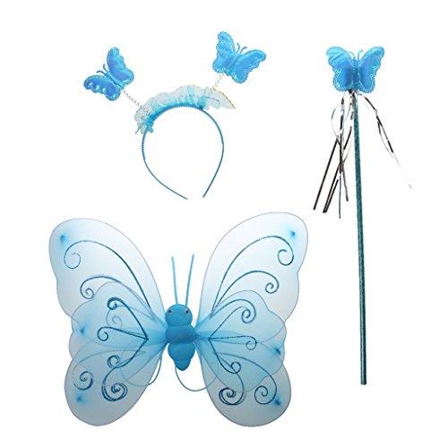 Party Prinzessin Mädchenkostüme Schmetterling Kostüm Fee Flügel Stab Stirnband - Blau, one size