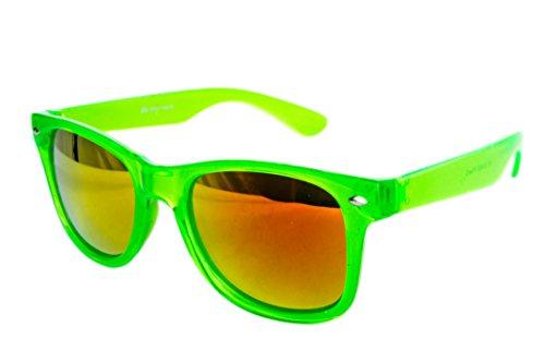 enbrille Nerdbrille Brille Nerd Transparent Feuer Neon Grün UV400 (Neon Party Sonnenbrille)