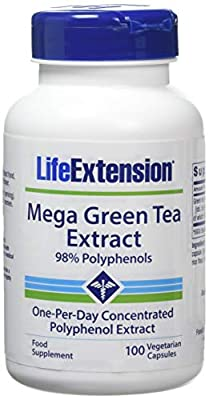Life Extension, Extrait de Méga Thé Vert, décaféiné, 100 Capsules végétales