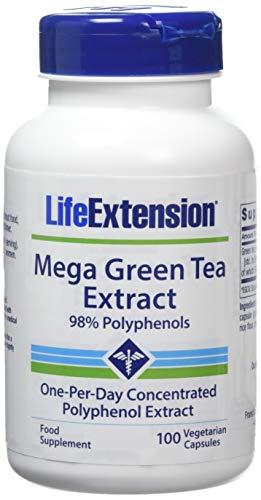 Life Extension , Mega Green Tea Extract ( Grüner Tee Extrakt ) , 725 mg , 100 Kapseln , hochdosiert , Vegetarisch , ohne Gentechnik , 98% Polyphenole