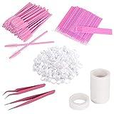 Leevia Eyelash Extension Kit-100 Glue Holder Rings 100Pcs Eyelash Micro Brushes 6 Rolls