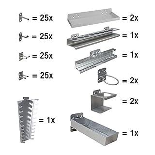 ADB Hakensatz/Wand-Haken-Sortiment 110-teilig RAL 7035 f. System Lochwand Lochplatte Werkstattwand/Werkzeugwand, Hergestellt in der EU