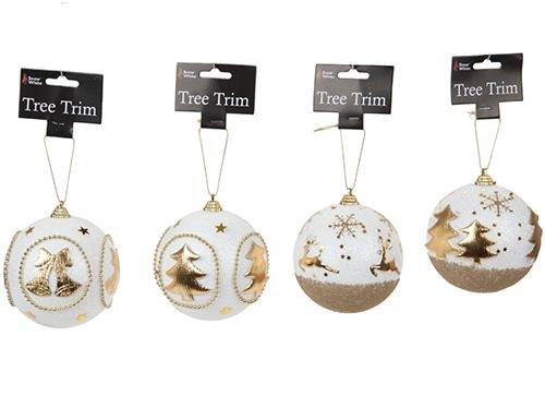 Confezione da 4 - grandi baulles decorate glitter - oro e bianco - trims