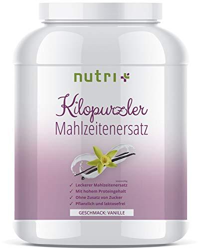 KILOPURZLER DIÄT SHAKE - Vanille - 20 Shakes / 1kg Pulver - Pflanzlicher Mahlzeitersatz - ohne Zucker - vegan - laktosefrei - Diätpulver zum Abnehmen - Hergestellt in Deutschland -