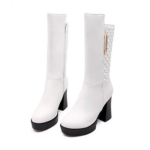 AllhqFashion Damen Hoher Absatz Blend-Materialien Mittler Kalb Rein Reißverschluss Stiefel Weiß
