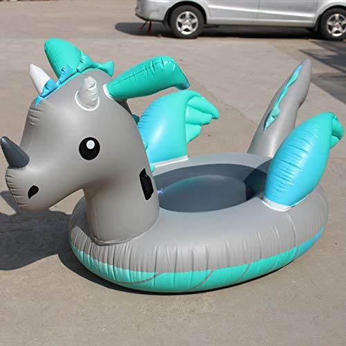 Pool Float Aufblasbares Pool Schwimmbad Riesige Aufblasbare Dinosaurier Ride-On Unicorn Schwimmen Ring Für Erwachsene Sommer Wasser Urlaub Party Spielzeug Blue gray-220 * 160 * 120cm