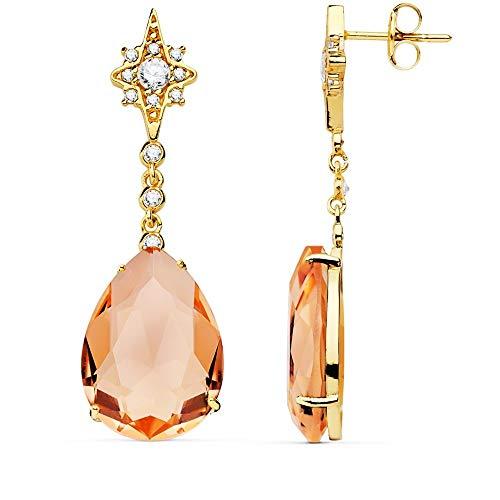 Pendientes Oro 18K Mujer 41cm Estrella Circonita Cadena Piedra Pera Color Salmón 13mm Cierre Presión
