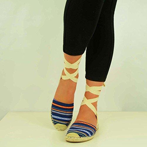 Cucu Fashion - Strap alla caviglia donna Blu (Blue Canvas Striped)