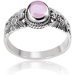 MATERIA 925Plata de ley Jewels–Anillo Flor Petalo–Nácar Anillo antiguo color rosa Incluye Joyero # Sr de 76