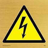 Viking Schilder we94-s85-gv Elektrische Warnung Symbol Zeichen, Gold Vinyl, 85mm H x 85mm w