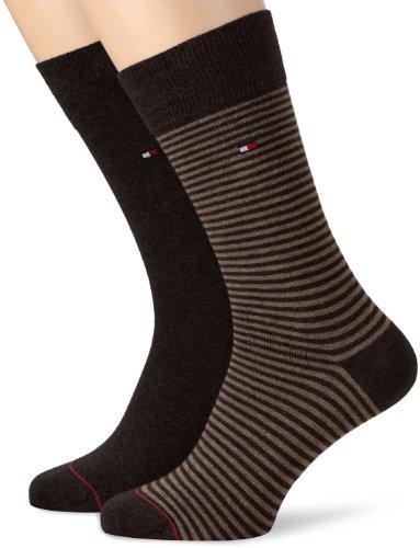 tommy-hilfiger-th-men-small-stripe-sock-2p-calze-da-uomo-kensington-brown-39-42