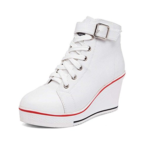 Solshine Women's Canvas Strap Buckle High Top Wedge Lace Up Casual shoes white