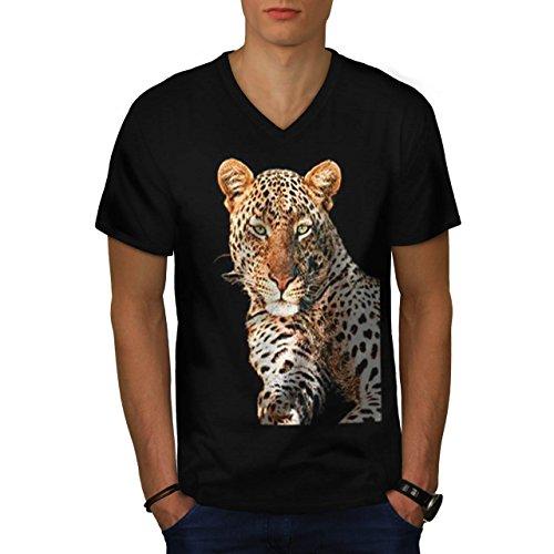leopard-jungle-cat-african-puma-men-new-black-m-v-neck-t-shirt-wellcoda