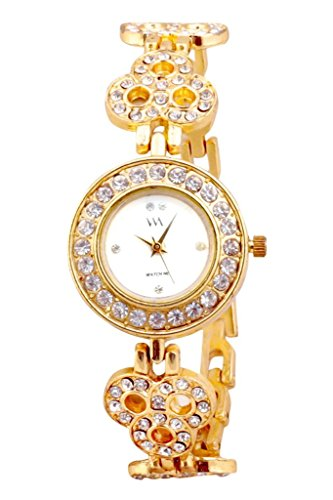 Watch Me White Dial Gold Metal Watch for Women and Girls WMAL-120-G