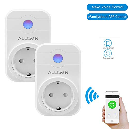 Steckdose, ALLOMN 2000W Intelligente Plug WIFI Stecker Kompatibel mit AMAZON Alexa eFamilyCloud APP Timer 2.4 GHz für Android iOS ()