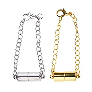 2 Sätze Magnet Karabinerverschluss Kettenverlängerer Für DIY Schmuck Halskette Machen