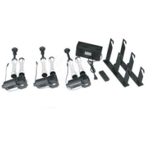 Cablematic - Kit de 3 enrolladores motorizados de fondos con fijación a pared