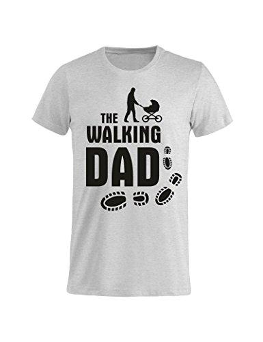 Tuttoinunclick t-shirt maglietta festa del papà - the walking dad gr84 - idea regalo compleanno onomastico - grigia, xl uomo