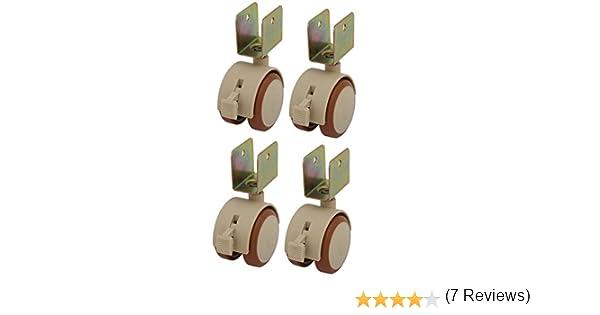 silenziatori capacit/à 80 kg Cuscinetti a Sfera con Staffa a U 16-25 mm 2 Ruote per mobili in Gomma da 50 mm con Freni GINVF Set di 4 Ruote piroettanti orientabili per presepi con Viti