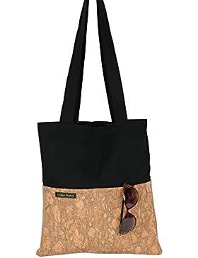 Shopper / Tote Bag / Einkaufstasche / Umhängetasche / Jeansstoff / schwarz / Kork