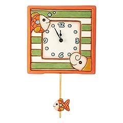 Idea Regalo - THUN Baby Orologio a Pendolo Elefante e Pesciolino, Ceramica, 23.8x24x8.2 cm