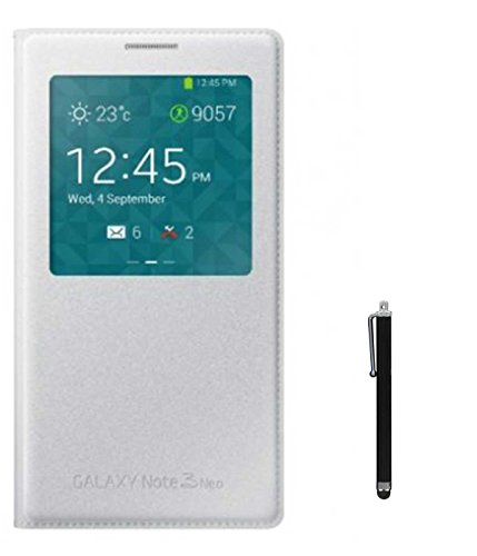 TBZ S View PU Leather Flip Cover Case for Samsung Galaxy Note 3 Neo N7505 with Stylus -White