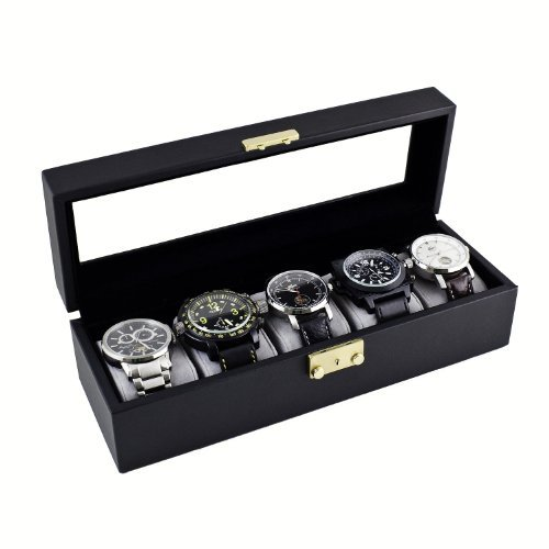 Caddy Bay Collection Classic Black Watch Case Storage Display Box with Glass Top, Holds 5 Watches by Caddy Bay Collection