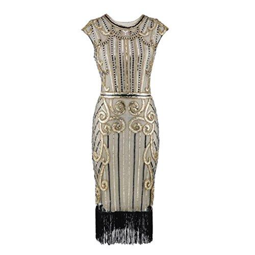 ON 1920 Vintage Damen Sommer Quaste Art Nouveau verschönert Fransen Flapper Kleid (1920 Anzüge)