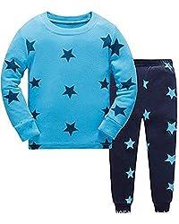 Tkiames Pyjama für Jungen, LKW, Dinosaurier, Kinder-Pjs mit langen Ärmeln, Nachtwäsche Gr. 5 Jahre, blau