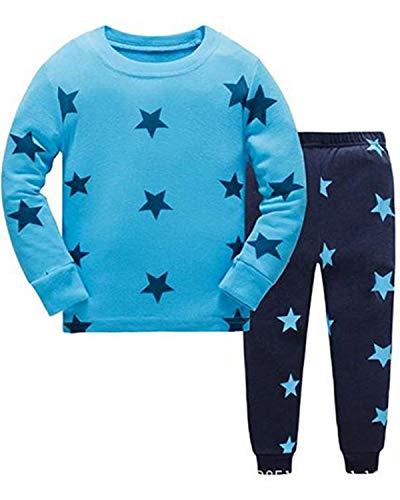 Tkiames Jungen Schlafanzug Pyjama Sterne Sleepwear Langarm Hausanzug Baumwolle Kinder Nachtwäsche 98 104 110 116 122 128 134