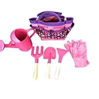 Monland 6Pc Kids Garden Tools Set Outdoor Toys For Children Sturdy Tote Metal Tools Wooden Handle Sandbox Toy Beach Early Learning Guide Pink