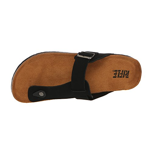 RIFLE Herren Sandale Flip Flops mit verstellbarer Schnalle 161M124630 BUCK Schwarz