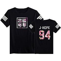 SERAPHY Camiseta Unisex KPOP BTS Camiseta Estampada Bangtan Boys BTS Young Forever Bloom Floral Suga Jin Jimin Jung Kook J-Hope Rap-Monster V negro-94j L