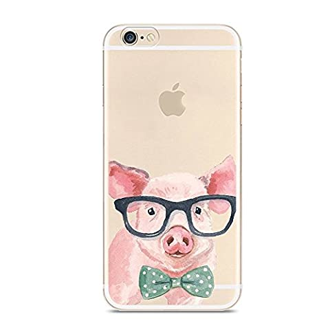 iPhone 6 6s Case,Cute Novelty Animal Pattern on Soft TPU Silicone Protective Skin Ultra Slim & Clear with Art Design Gift Bumper Back Cover for iPhone 6 6S,Pig in glasses