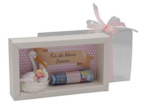 ZauberDeko Geldgeschenk Verpackung Geldverpackung MIT Namen Baby Storch Mädchen Geburt Taufe Gutschein