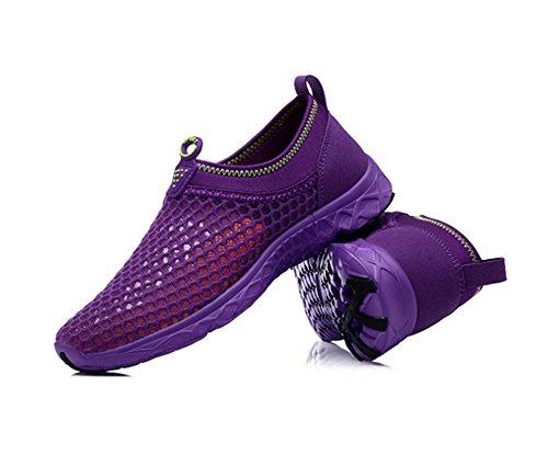 YIRUIYA Damen Aquaschuhe Atmungsaktiv Schwimmschuhe Slip-On Wassersport Unisex Violett-2