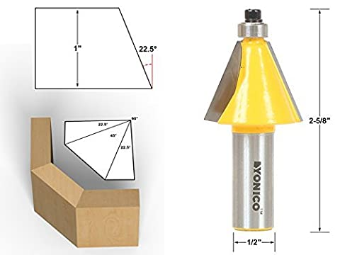 Yonico 13904 22.5 Degree Chamfer & Bevel Edging Router Bit with 1/2 Shank by Yonico