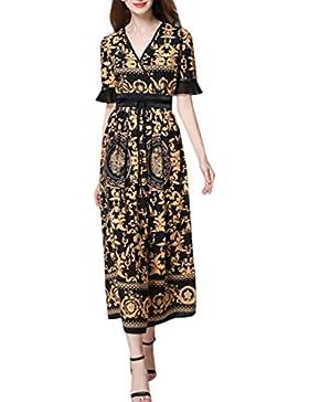 HJMTRY V collar de impresión de flores de estilo medio largo de encaje Thin Ms vestido de mangas cortas , picture...