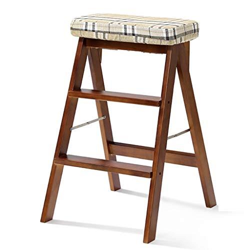 Klappstufen Leitern Trittleiter Klapphocker Aus Massivem Holz Dreistöckiger Hocker Für Zu Hause Küchenkletterstuhl Holzleiter Küchenstuhl (Color : Checkered Yellow, Size : 40 * 20 * 67.5cm)