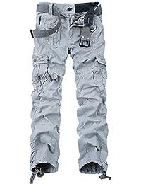 OCHENTA Homme Pantalon Cargo En Coton Multi Poches Type Mince