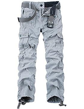 [Patrocinado]OCHENTA - Hombre Algodón Washed Multi Bolsillos Militar Cargo Pant