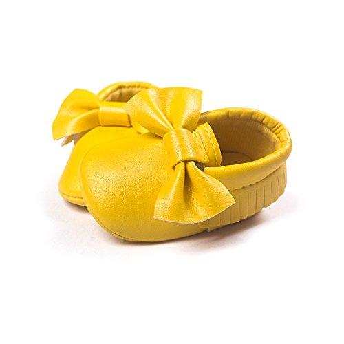Kleinkind Weiche kaci Jungen Mädchen 0 Mokassin Sohle Bogen 18 Schuhe Leder Dark Gelb Baby Anna Monate Infant wvtTv