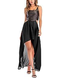 BoBoLily Vestiti Donna Estivi Eleganti Ecopelle Cucitura Chiffon Vestito  Lungo Senza Maniche Asimmetrico Chic Unique Casual 96f7a8db21e