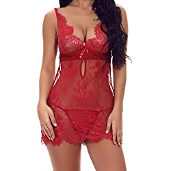 FeelinGirl Mujer Ropa Sexy Interior Femenina Babydoll de Encaje Camisón y Tanga Estimulante Rojo XXL