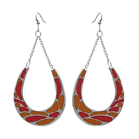 Horseshoes Argent Orange et boucles d'oreilles Crochet