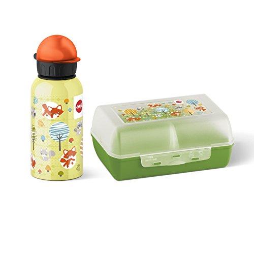 Emsa 2-teiliges Geschenkset für Kinder, Brotdose und Trinkflasche, Grün, Kids Set Fox, 517226